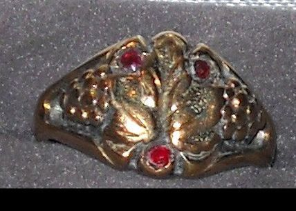 Victorian Gold on Sterling Garnet Colored Stones Ring