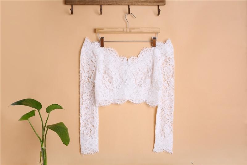 Long sleeve lace wedding top v neck  4