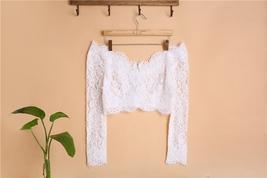Off Shoulder V-Neck Long Sleeve Lace Crop Tops Boho Wedding Bridal Lace Top image 1