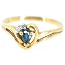 10K Yellow Gold Diamond & Pear Cut Sapphire Gemstone Ring Size 6.25 2.1g image 2