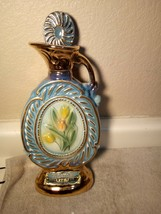 Jim Beam Decorator BOTTLE--BEAM'S--BLUE FLORAL--CHIPPED CORK---FREE SHIP--VGC - $33.47
