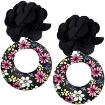 Black Floral Fabric Drop Hoop Earrings - $13.64