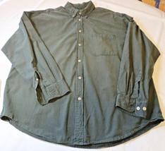 Mens Izod Shirt L/S button up shirt L cotton dark green plaid 4511126 pr... - $25.73