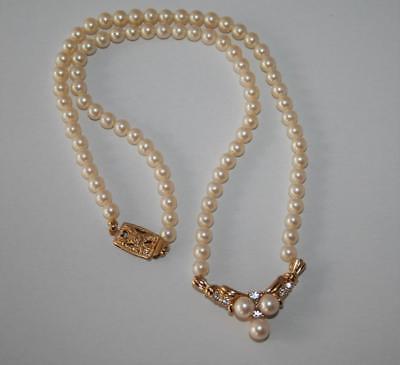 "Vintage Monet Ivory Faux Pearl Rhinestone 18"" Pendant Necklace J301"