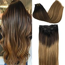 GOO GOO Hair Extensions Clip in Ombre Natural Black to Light Brown and Honey Blo