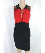 Vtg 90s Red Black Colorblock Keyhole Ascot Lace Trim Wiggle Pinup Sheath... - $14.03