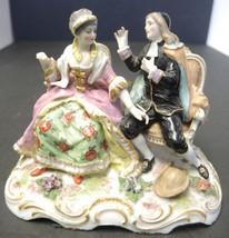 "Antique Meissen Courting Scene Figurine Crossed Swords ""A"" - $56.99"