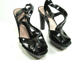 Vince Camuto Womens Black Patent Leather Strappy Peep To Pumps Heels Size US 9 B - $26.19