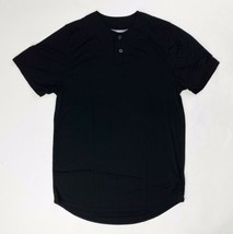Russell Athletic Two Button Solid Placket Baseball Jersey Men's Small Black - $22.76