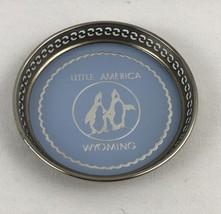 Little America Wyoming Coaster Metal Tin Blue Penguins - $32.73