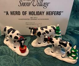Department Dept 56 Original Snow Village HERD OF HOLIDAY HEIFERS #54550 ... - $18.28