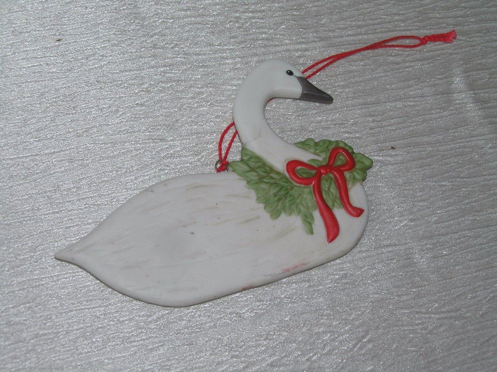 Vintage Schmid of Gordon Frazer 1983 Marked White Porcelain Christmas Goose