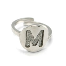 REBECCA BRONZE RING, LETTER M, INITIAL WITH GLITTER, MADE IN ITALY, ADJUSTABLE image 1
