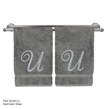 Monogrammed Washcloth Towel,13x13 Inches - Set of 2 - Silver Script - U - $27.44