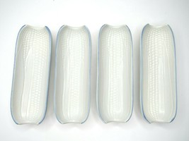 4 Pfaltzgraff Yorktowne Corn On The Cob Dishes White Footed Plate Holder Trays - $29.57