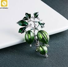 Brooches Women Men Enamel Green Olives Alloy Plant Brooch Pins Girls Gift - $6.42