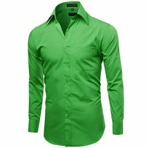 Omega Italy Men's Long Sleeve Solid Classic Green Button Up Dress Shirt  - XL image 4