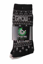 1 Paire De Organika Grow Kayo Style Noir Gris Contraste Matelassé Ras Socks Nwt image 3