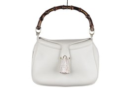 Authentic GUCCI Vintage RARE White Leather SEA SHELL HANDBAG Bamboo Bag - $4,455.00