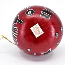Handcrafted Carved Gourd Red Snowman Winter Ornament Made in Peru image 5