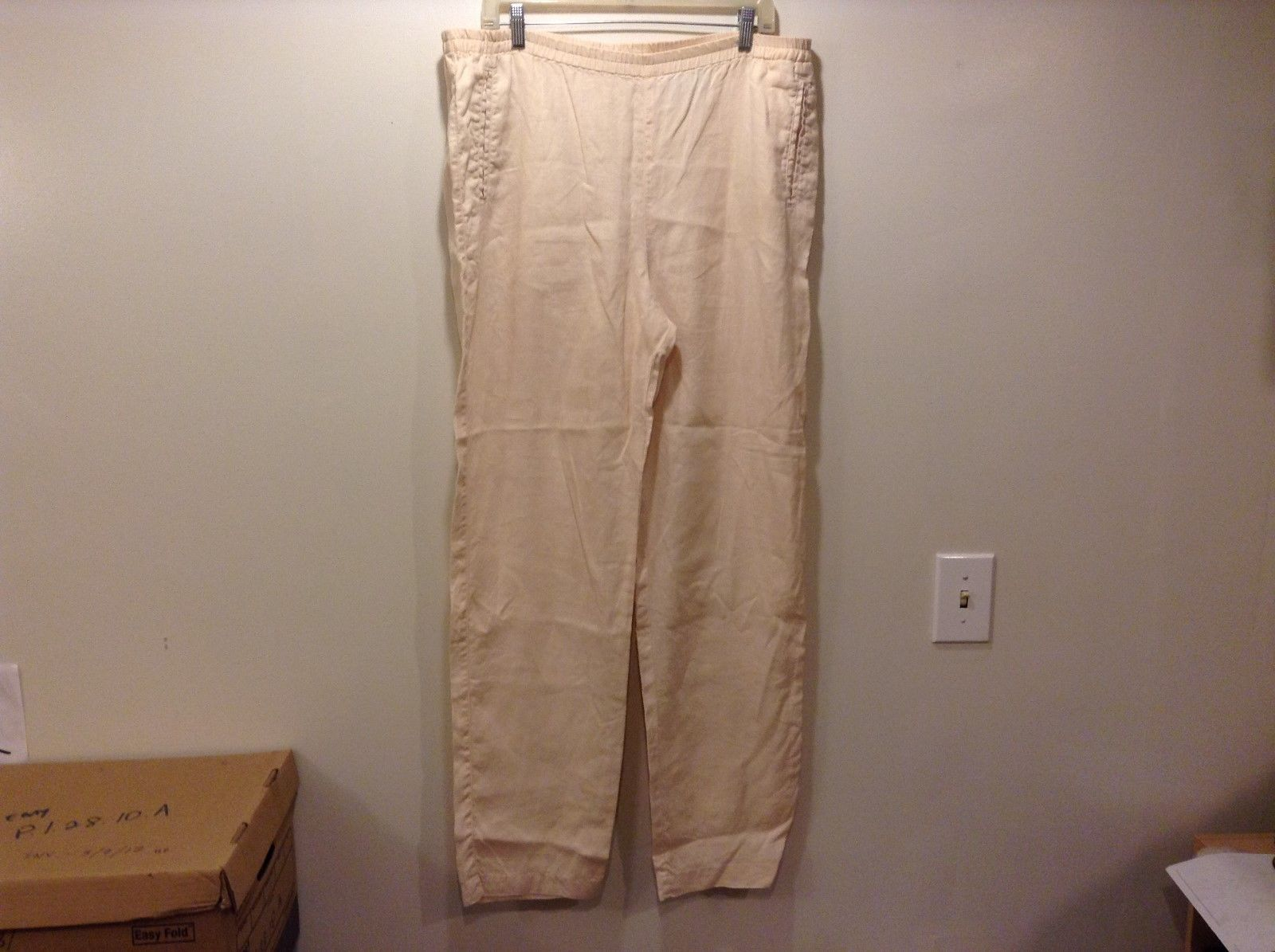 Eddie Bauer Ladies Light Peach Colored Linen Pants Sz Tall Medium