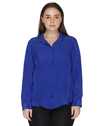 Benares Women's Button Down Shirt - Long Sleeve Viscose Shirt, Blue, Plus Size,