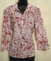 JM Collection Petite Blouse SHIRT size 16P Pink Paisley Cotton Womens Top - $16.79