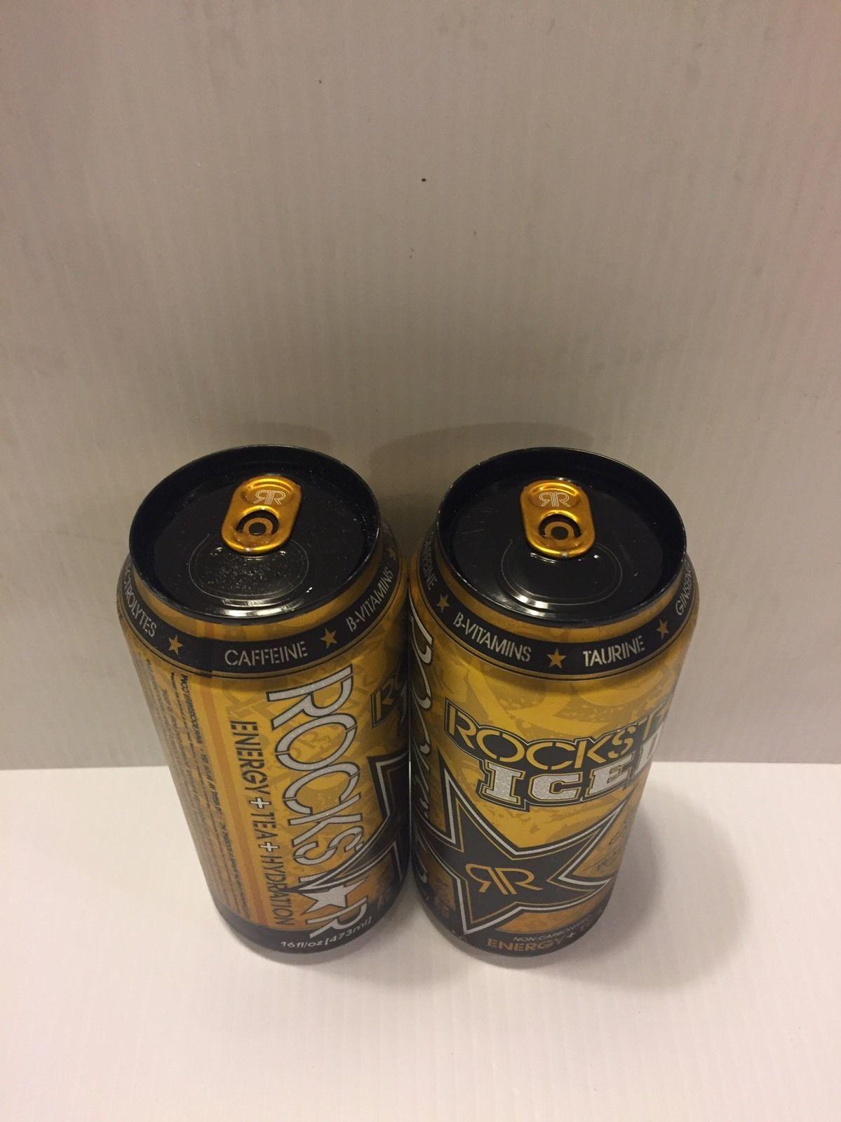 Rockstar Energy Drink Iced Peach+Tea. 2 X Discontinued Rare Cans Lot