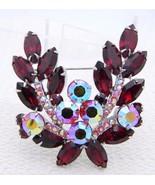 VTG Large Silver Tone Red Aurora Borealis Rhinestone Leaf Flower Pin Brooch - $99.00