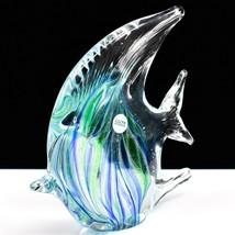 Dynasty Gallery Handmade Blue & Green Fish Glow in the Dark Art Glass Figurine image 2