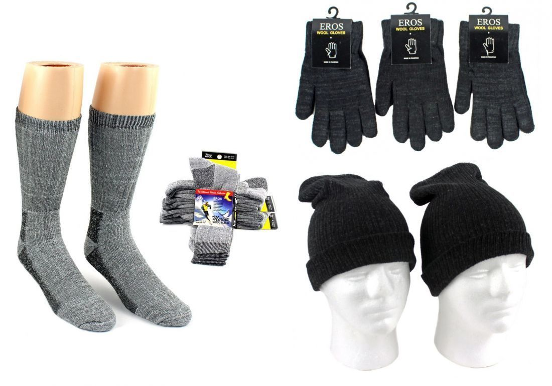 Case of [180] Adult Hats, Gloves & Socks - Merino Wool, Light Grey & Black