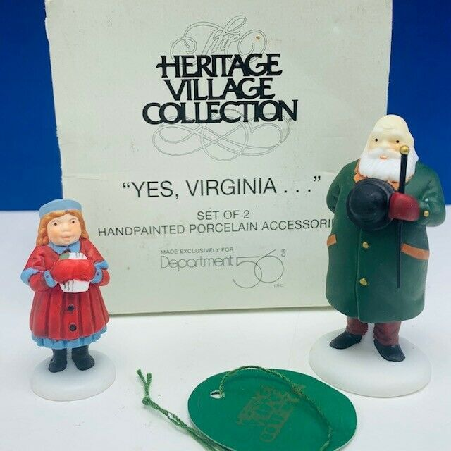 Primary image for Department 56 Heritage cottage snow village Christmas box Yes Virginia set of 2