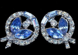Pell Blue & White Glass Stone Earrings - Vintage - $14.95
