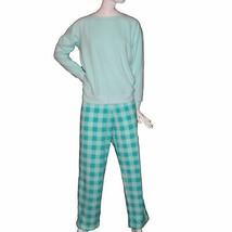 Lands End Women Size Medium (10-12) Fleece Sleep Set, Sea Blue & Turquoi... - $29.99