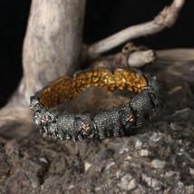 Elephant Bangle Bracelet Diamond 0.185Ct Ruby 14K Yellow Gold Silver Jew... - $1,667.98
