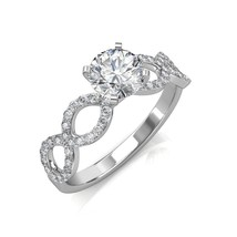 1.52Ct Round Cut Diamond Twisted Engagement Ring In 14K White Gold - $6,666.37