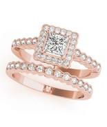 Princess Cut Diamond Womens Halo Engagement Ring Set 14k Rose Gold Fn 92... - $98.99