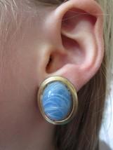 Vintage Oval Swirl Enamel Sky Blue Gold Tone Clip On Earrings - $14.99