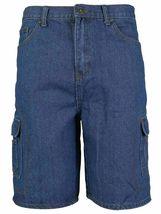Men's Premium Cotton Multi Pocket Relaxed Fit Stonewash Denim Jean Cargo Shorts image 12