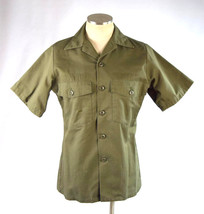 Vtg 80s Green US Military Short Sleeve Button Down Utility Shirt Sz 14.5... - $24.74