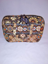 Vera Bradley Brown Floral Small Quilted Makeup Case Bag w/Handles Size 7... - £17.21 GBP