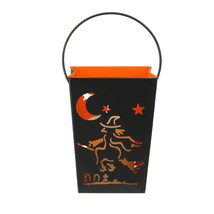 "Melrose 7"" Witch Flying on Broom Black Halloween Candle Lantern Luminary - $25.04"