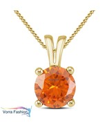 Solitaire Women's Pendant 18k Gold Plated 925 Silver Round Cut Sapphire - £29.95 GBP