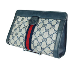 Authentic GUCCI GG Pattern PVC Canvas Leather Navy Blue Clutch Bag GP1952 - $239.00
