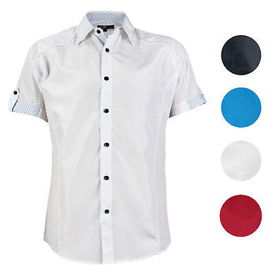 E-38 Italy Men's Western Button Up Short Sleeve Casual Dress Shirt LY207
