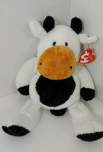 Ty Pluffies Grazer Cow Plush black white brown Stuffed Animal 2002 Tylux... - $19.79