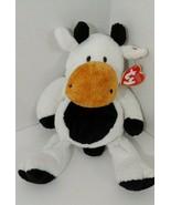 Ty Pluffies Grazer Cow Plush black white brown Stuffed Animal 2002 Tylux... - $19.79
