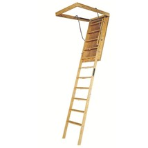 Attic Ladder Wood with 350 Lbs Capacity Load 8 ft 9 in to 10 ft 30 in x ... - $244.69