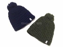 New Coal Waffle Chunky Knit Pom Beanie Hat Cap Ski Winter Blue/ Army Oli... - $8.49