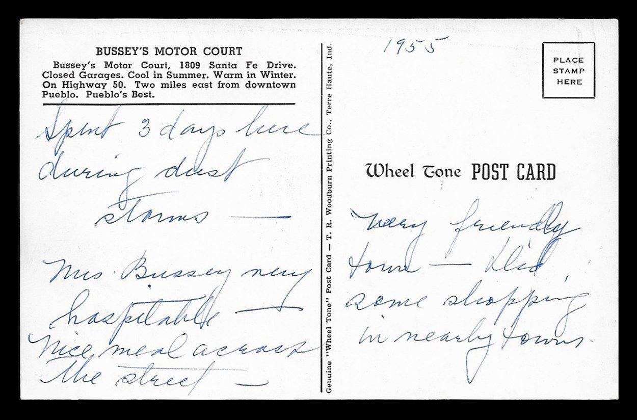 Bussey's Motor Court Postcard 1955 Colorado Pueblo Two Views CO PC image 2